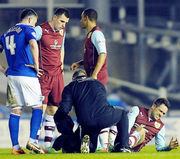An injured Danny Ings at Birmingham