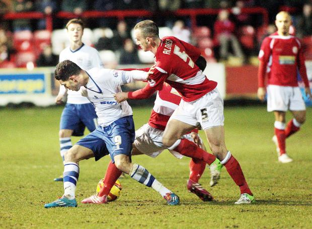 Blackburn Rovers striker Anton Forrester in action for Bury against Accrington Stanley earlier this season