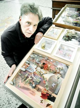 Peter Harris with some of his artwork