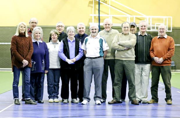 Bowlers from the Dorothy Southworth Indoor Bowling League face the camera at Roefield Leisure Centre