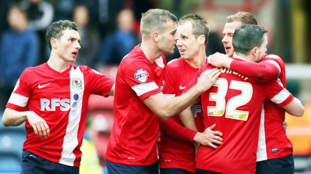 Lancashire Telegraph: Rovers celebrate at Huddersfield