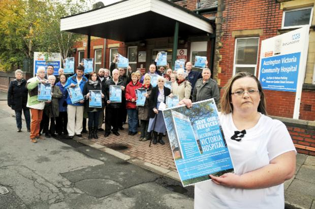 Lancashire Telegraph: Coun Clare Pritchard heads the 'Save Our Walk-in Centre' protest in October last year