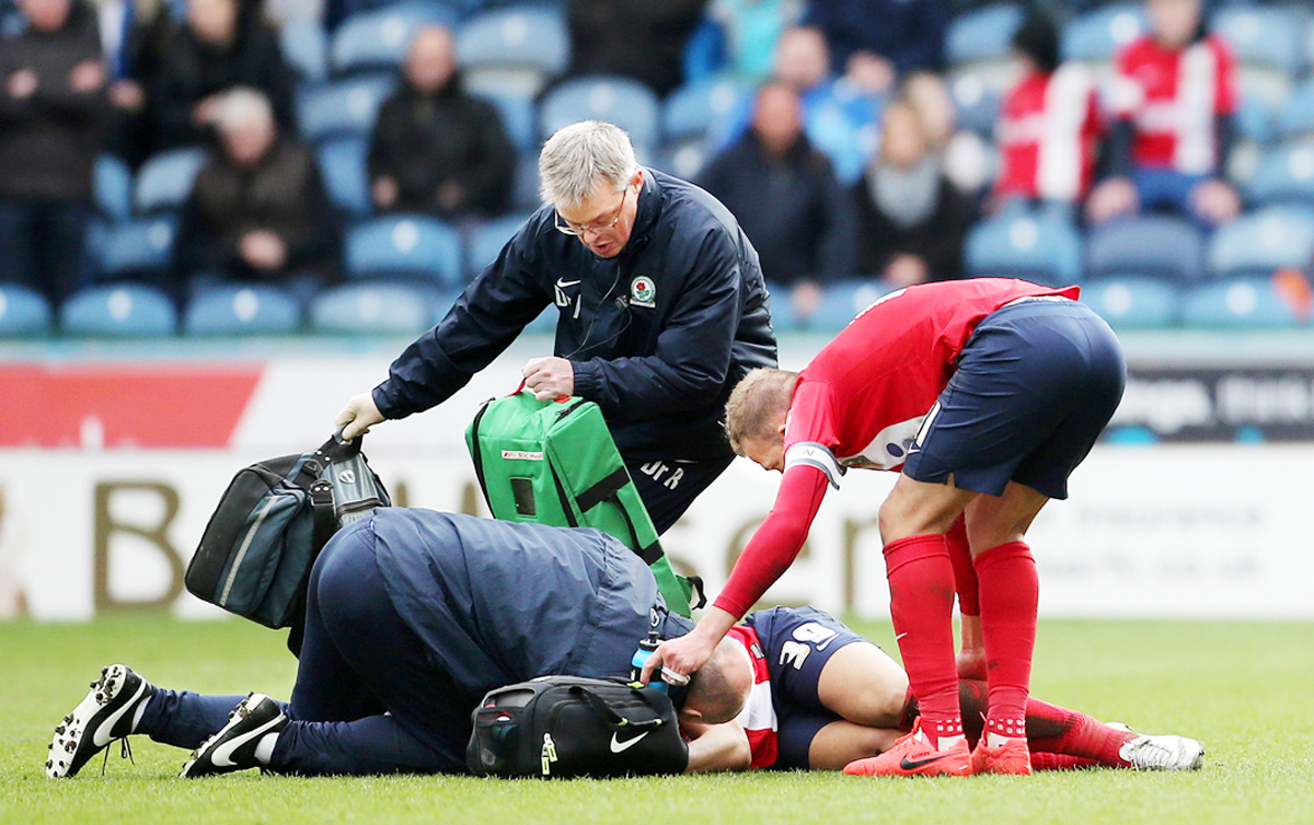 Rudy Gestede was injured at Huddersfield Town
