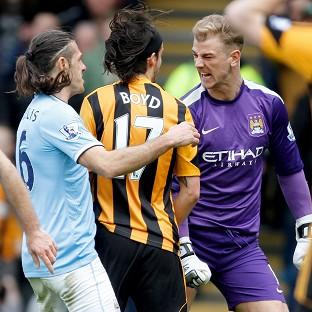 George Boyd, centre, and Joe Hart, right, clashed during last Saturday's game at the KC Stadium