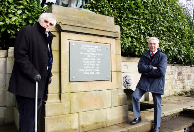 George Harman and Mel Diack at the existing memorial in Corporation Park