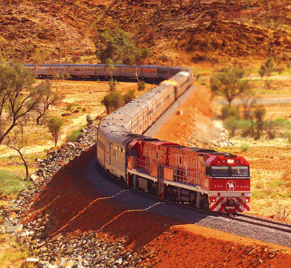 The Ghan weaves its way through the Outback on its way north.
