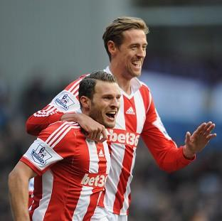 Peter Crouch, right, was on target in Stoke's crushing win at Villa Park