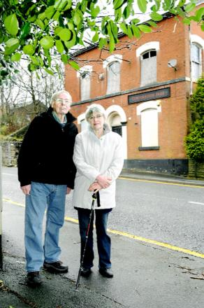 Mike and Martha Chamberlin outside the empty derelict Corporation Park pub