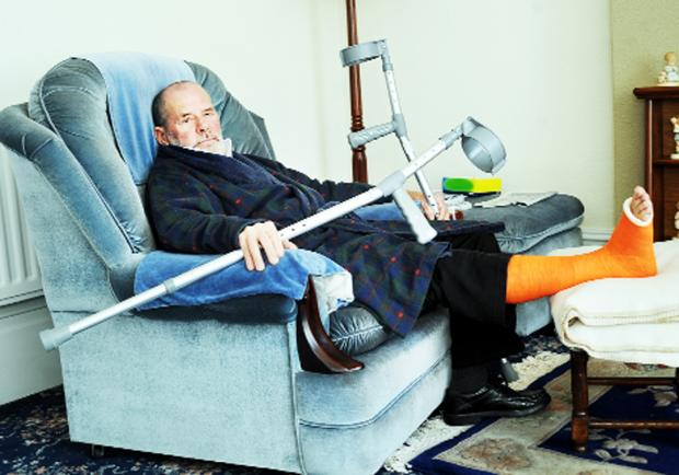 Coun Paul Browne recuperating after  his ladder ordeal
