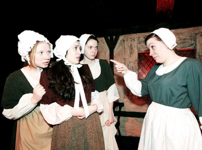 The cast of The Crucible take part in a dress rehearsal at the ACE Centre in Nelson.