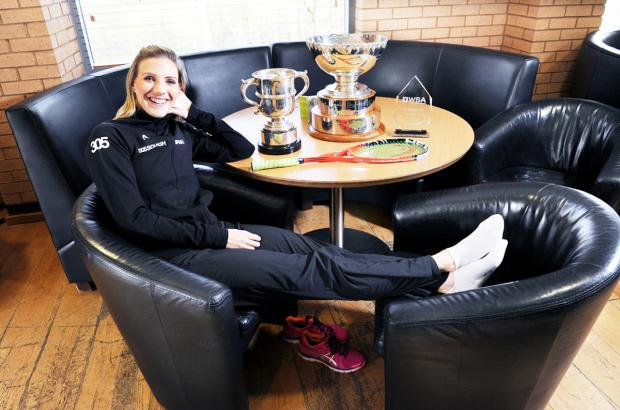 Laura Massaro shows off her three trophies