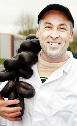 Andrew Holt with his awards-winning black pudding