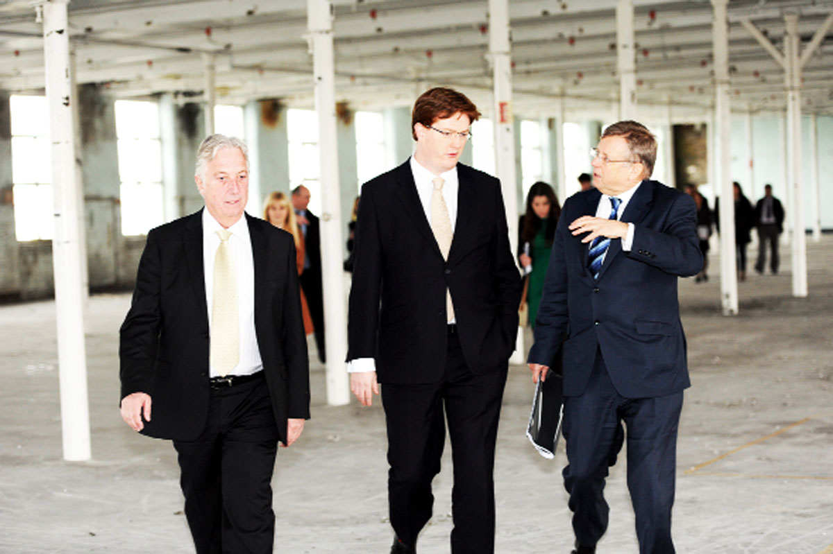 Danny Alexander MP, Chief Secretary of the Treasury, at Northlight, formerly Brierfield Mill, with Tim Webber,