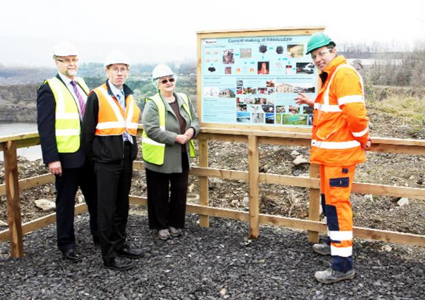 Lanehead quarry manager Sam Wrathall, right, and from left James Russell of Ribble Valley Borough Council; Jonathan Haine of Lancashire County Council and Jennifer Rhodes
