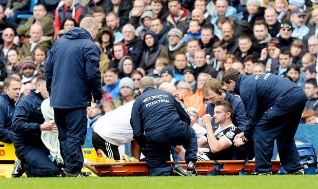 Jay Rodriguez is carried off yesterday