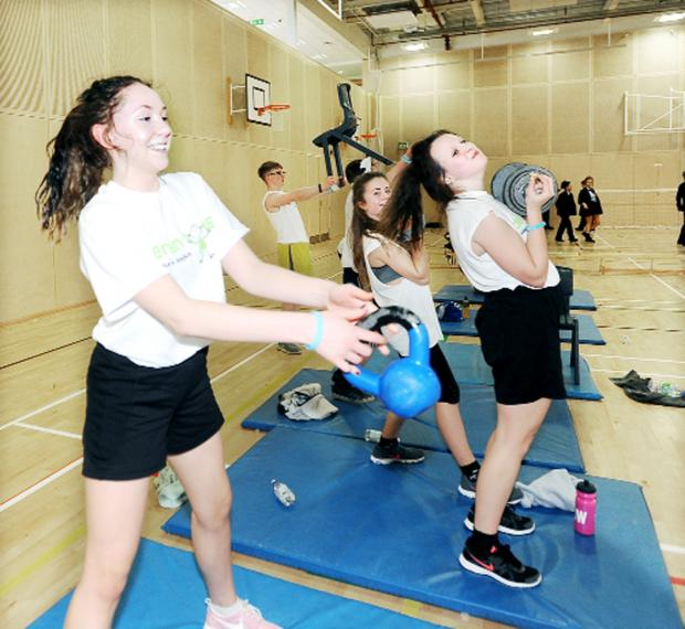 Darwen Vale High School students in a high energy workout to raise hospice cash