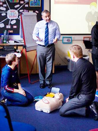Some of the college staff have been trained to use a defibrillator