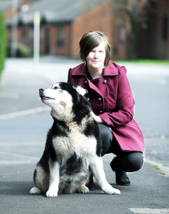 Jools Brown and her eight-year-old Alaskan Malamute, Flow, were walking from Bower Street to Hamilton Street in Mill Hill, Blackburn