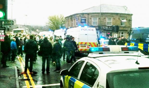 Police outside Turf Moor after the match