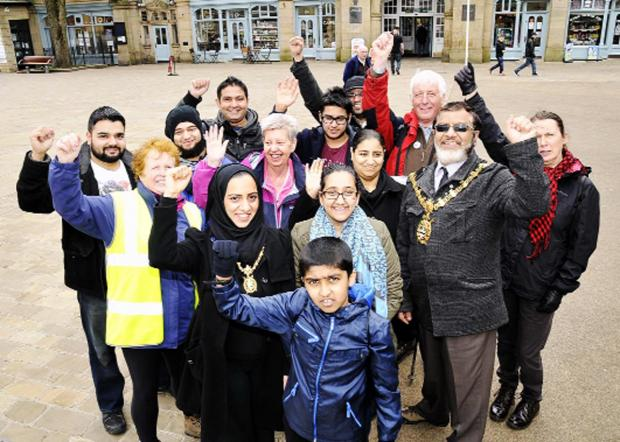 Danyall Sidik is joined by his cousin, Mayor Salim Mulla, Mayoress Fatima Mulla and friends and family