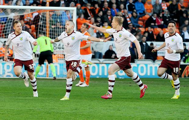 Michael Kightly celebrates the winner at Blackpool