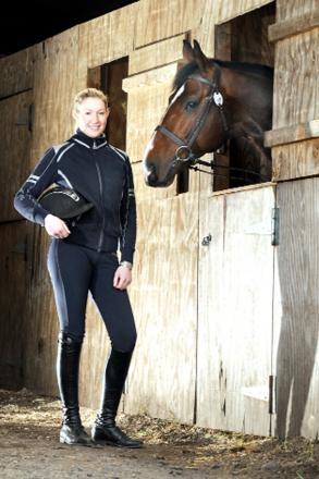 Sarah Lundy with her horse Vegas, who competes under the name Diablo