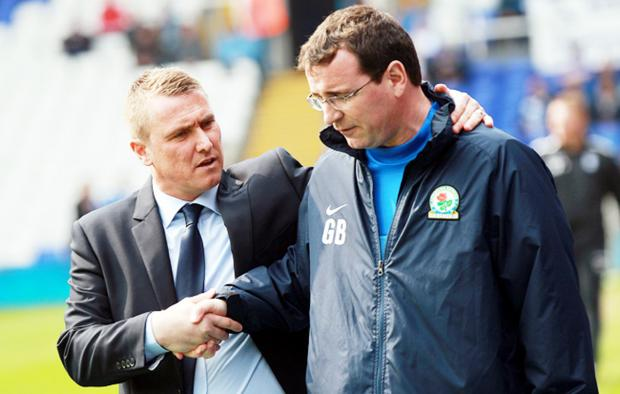 Birmingham boss Lee Clark congratulates Gary Bowyer