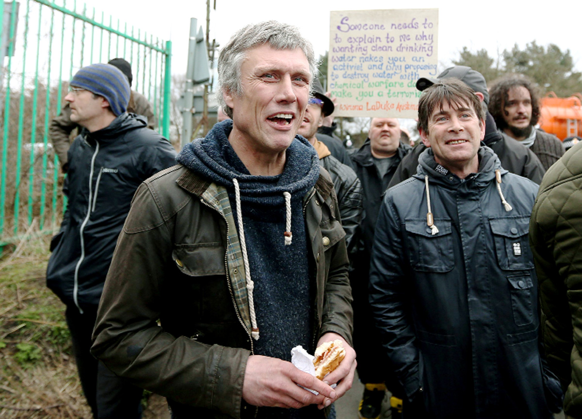 Bez – real name Mark Berry – joins anti-fracking campaigners at Barton Moss.