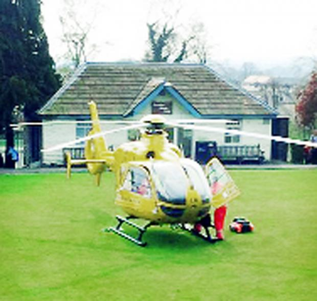 The medics' chopper lands near Clitheroe Castle