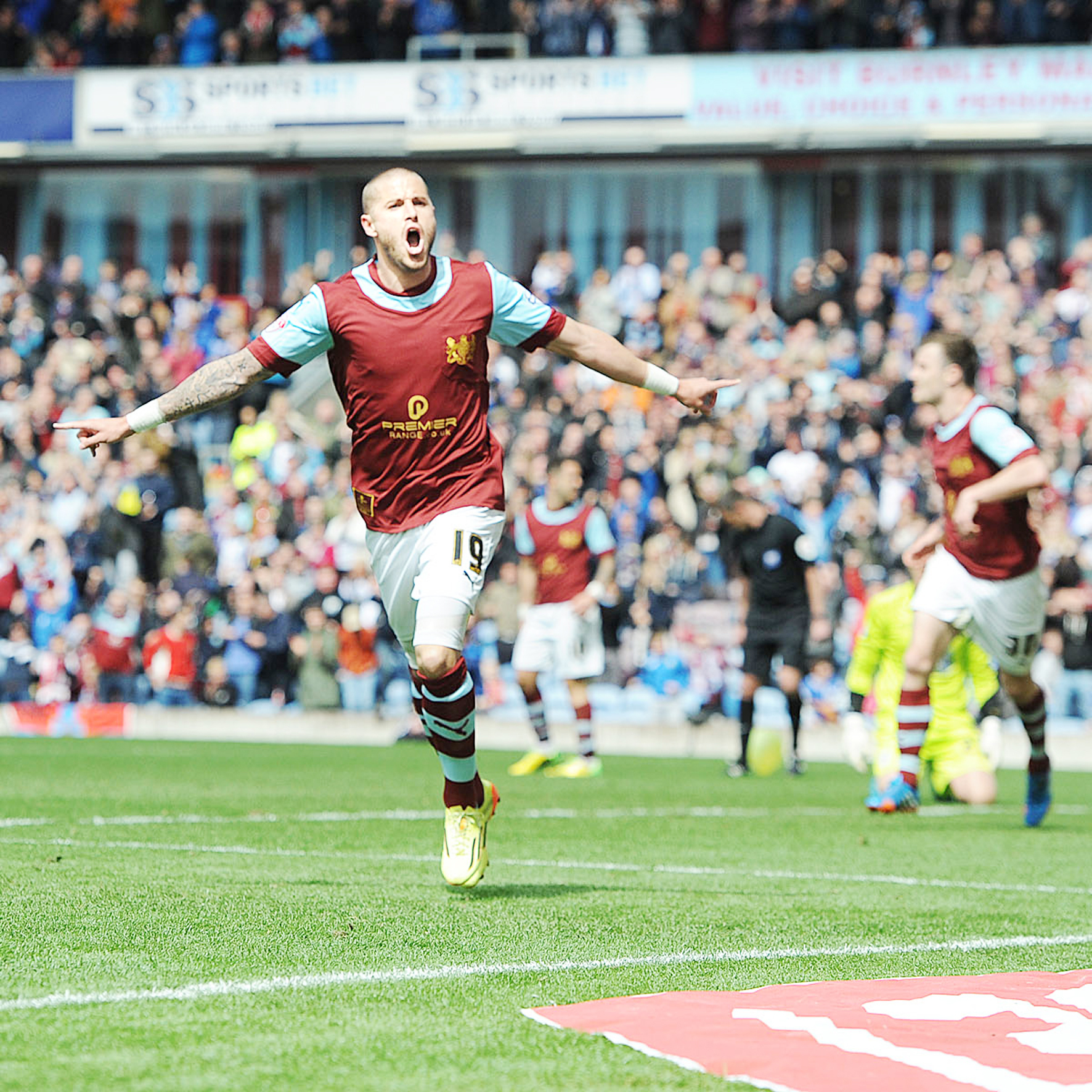 Michael Kightly celebrates his winner on Saturday Picture: CLIVE LAWRENCE