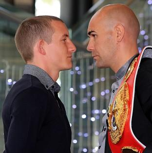 Paul Butler, left, and IBF bantamweight champion Stuart Hall, right, will clash at the Metro Radio Arena this summer