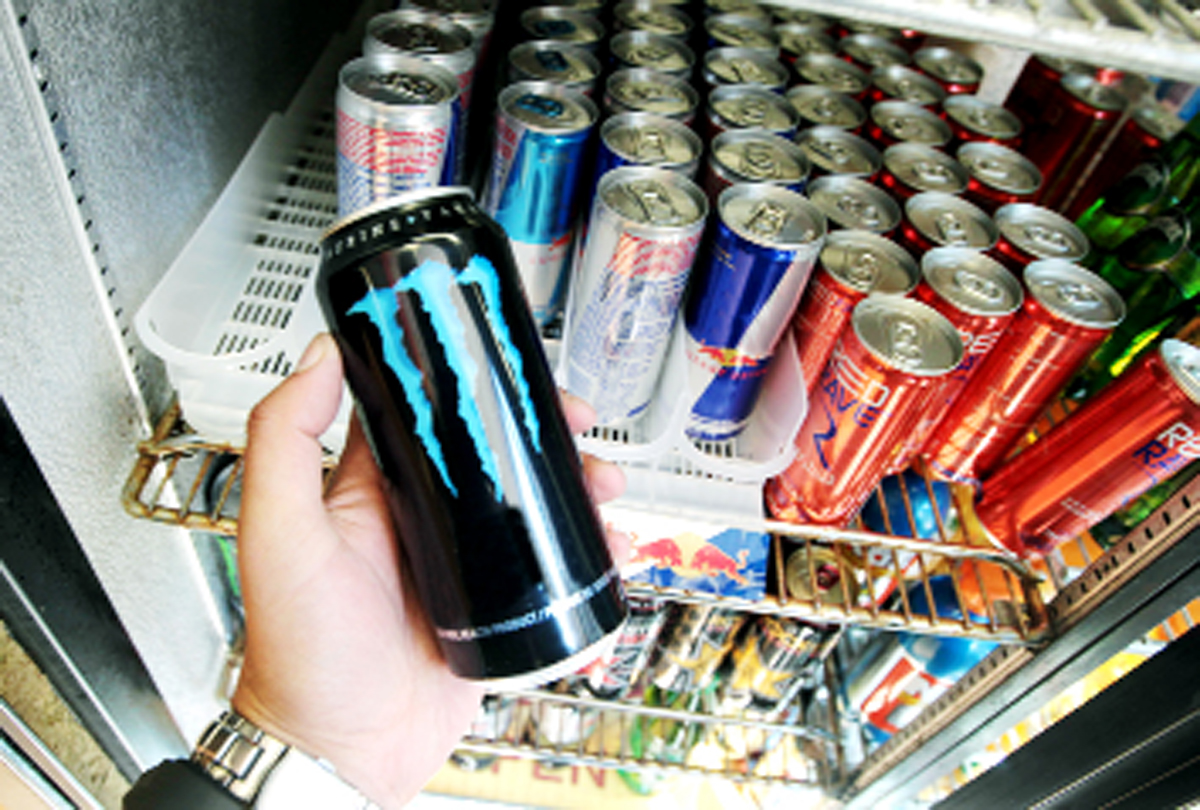 A school principal has asked pupils not to bring in energy drinks like these because of health fears