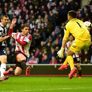 Fabio Borini fires home Sunderland's second goal of the evening