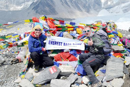 Stephen, left, and friend Adam Chiltern at Everest base camp