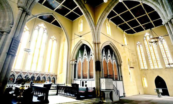 The antique organ in situ at Holy Trinity Church in Mount Pleasant, Blackburn