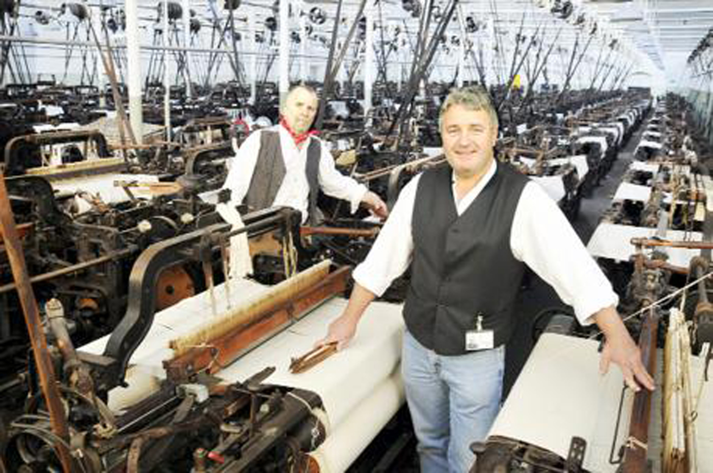 Another great East Lancs museum: Queen Street Mill Textile Museum with Weaver Colin Stevens, left, and Tackler Graeme Myers