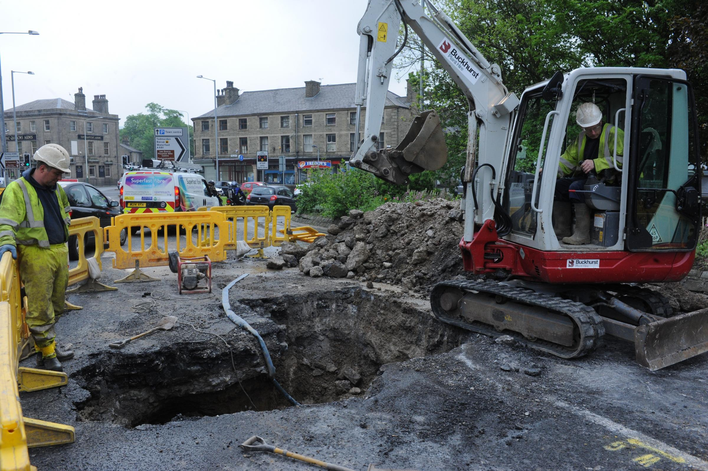 UPDATE: Long delays in Rawtenstall after road collapse