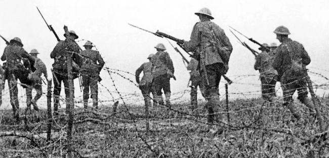Soldiers on the battlefield during World War One