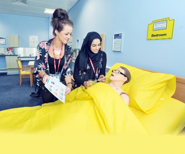 Students Megan Leyland, of Bacup, and Tanzeeka Akbar, of Burnley, make use of the suite