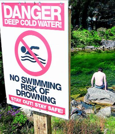 Signs make clear the dangers of swimming in reservoirs