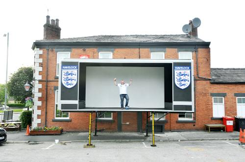 Darren Heggie with his big screen