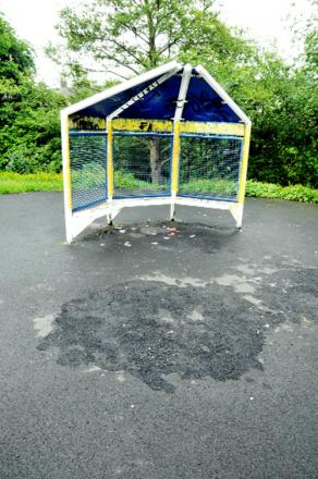 Some of the damage caused to the playground