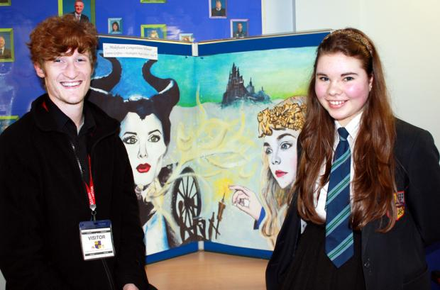 Lauren with her  artwork and cinema manager Matthew Rawcliffe