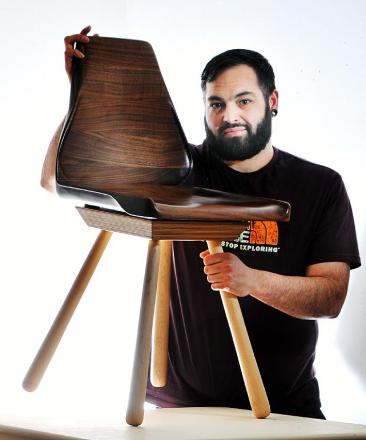 Christopher Hume with his American style black walnut and maple chair