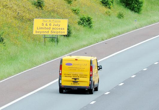 Lancashire Telegraph: Signs warning of the road closures for the Tour de France are already in place