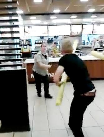 The 90-second clip, which has clocked up tens of thousands of views on social media, shows Ben Hall and Joel Melia attacking two female employees with the foam