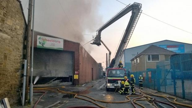 Large fire at Ramsbottom recycling depot: Pic Manchester Fire and Rescue