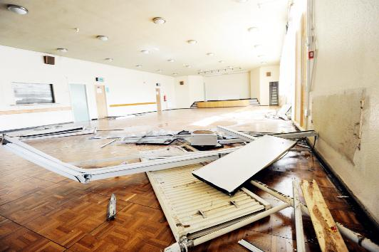 Devastation inside Hippings Vale Community Centre after the car crash