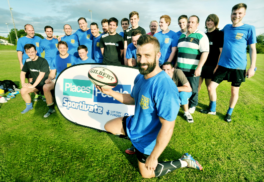 Chris Leck with members of Burnley Rugby Club during a recent touch rugby session at Holden Road