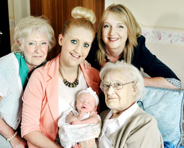 Five generations met in Little Harwood when great great grandmother Frances Ellen Thomson, 91, invited her daughter Frances Dean (left), 71,  now a great grandmother, Frances's daughter Adrienne Middleton, 49. (back right) who is now a grandmother, and he